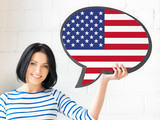 Fototapety smiling woman with text bubble of american flag
