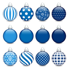 Christmas Balls Pattern Blue/Silver