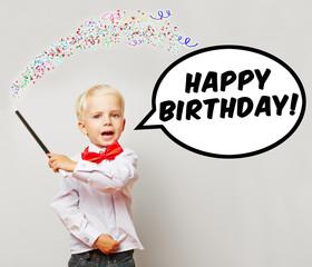 Zauberer sagt Happy Birthday