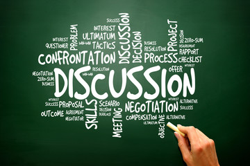 Discussion concept words cloud on blackboard, presentation
