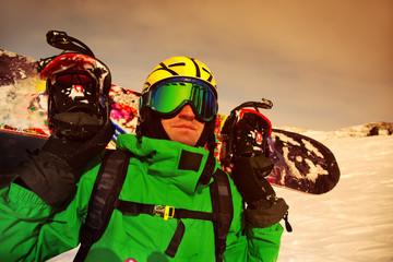 Portrait of snowborder
