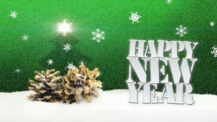 Happy New Year snow falling pinecone christmas green