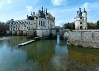 Chateau Chenonceau or Ladies Castle (France).
