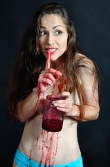 half-naked girl eating jam from the jar