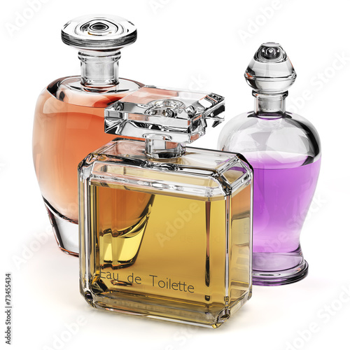Leinwandbild Motiv Perfume glass bottles isolated