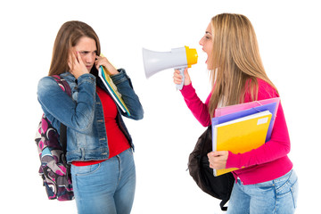 Student shouting at her friends over white background