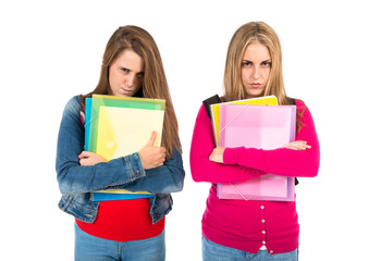 Angry students over isolated white background