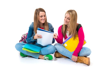 Students learning over isolated white background