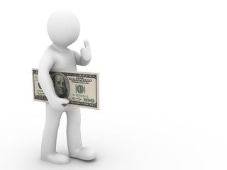 man with dollar showing thumbs up on white