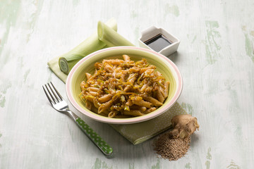 oriental pasta with leek seed sesame ginger and soya sauce