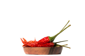 Dried Hot Chili Peppers Isolated on White Background