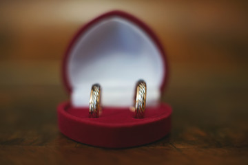 Wedding rings in a heart shaped box