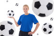 female soccer player over white background with flying leather b