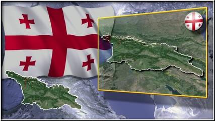 Georgia flag and map animation