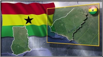 Ghana flag and map animation