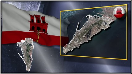Gibraltar flag and map animation
