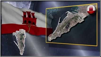 Gibraltar flag and map animation