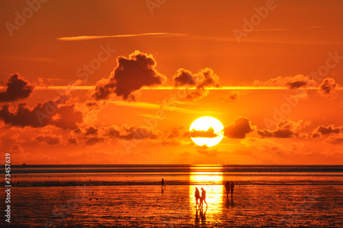 canvas print picture Sonnenuntergang Nordsee