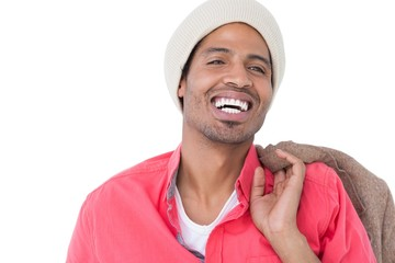 Smiling man wearing beanie hat