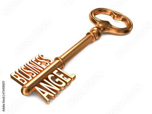 Keuken foto achterwand Boodschappen Business Angel - Golden Key on White Background.