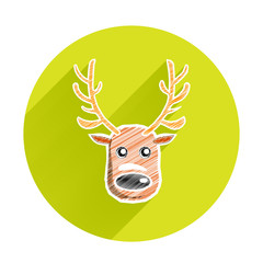Reindeer christmas and happy new year icon