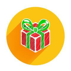 Giftbox christmas and happy new year icon