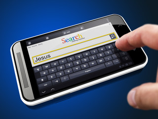 Jesus in Search String on Smartphone.