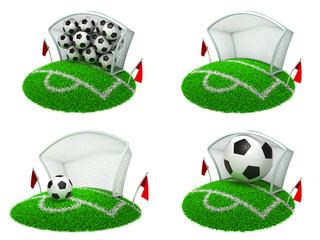 Soccer Concepts - Set of 3D Illustrations.