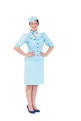 Pretty air hostess smiling at camera