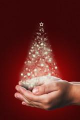 Christmas o tarjeta de Navidad con árbol de luz en rojo