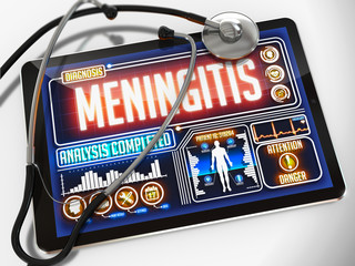 Meningitis on the Display of Medical Tablet.