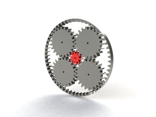 3D Gears the mechanism Isolated on white background