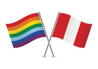 Peruvian and Rainbow Gay flags. Vector illustration.