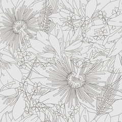 Seamless grey pattern with flowers lily