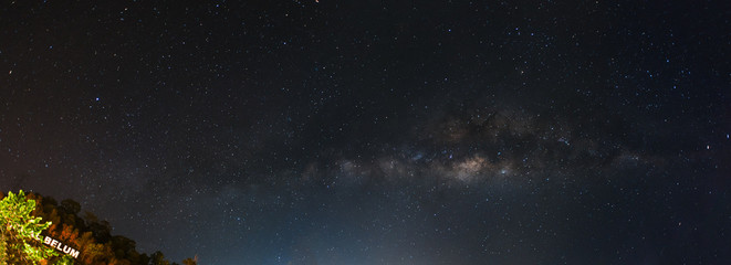 Panoramic of a Milky Way at Royal Belum Rainforest