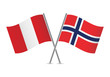 Peruvian and Norwegian flags. Vector illustration.