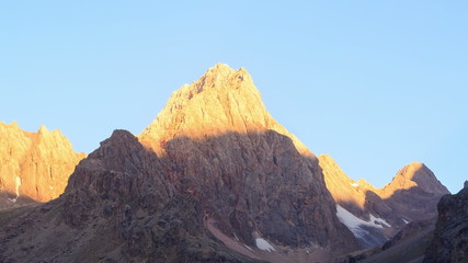 Sunrise in the mountains. TimeLaps, Pamir, Tajikistan