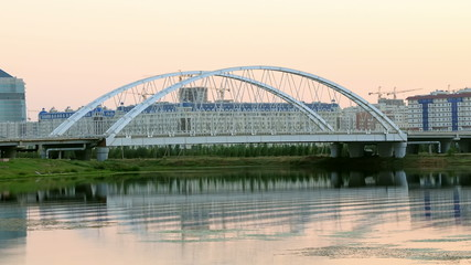 Sunset view of the bridge. Arys bridge, Astana, Kazakhstan
