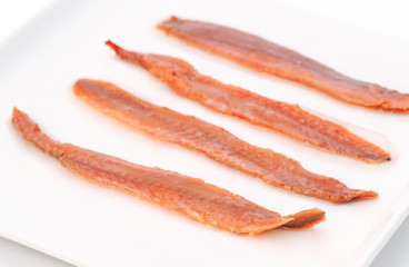filleted anchovies on a plate