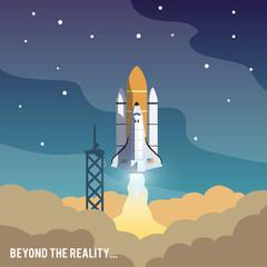 Concept shuttle vector illustration. Space shot.