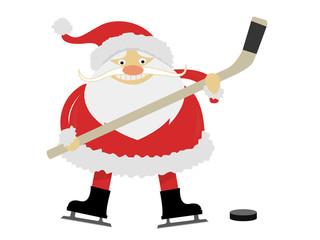 ice hockey Santa Claus with a stick on ice skates