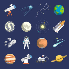 Flat design icons of astronomy. Vector icons. #2