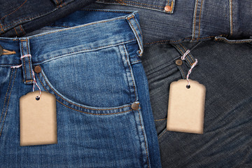 Jeans with blank paper price tag