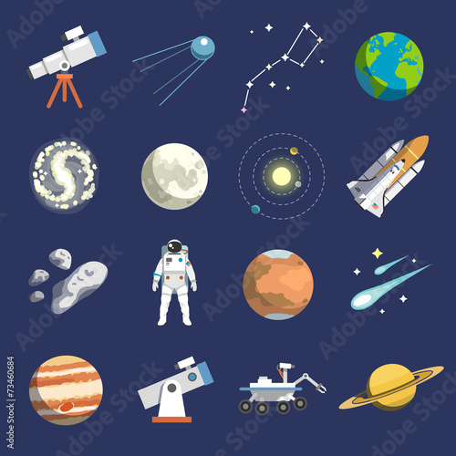 Tapeta Flat design icons of astronomy. Vector icons. #2