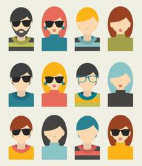 Men, woman portrait avatars profile pictures flat icons.