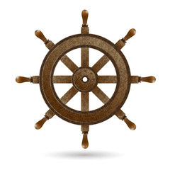 Wooden steering wheel of the ship.