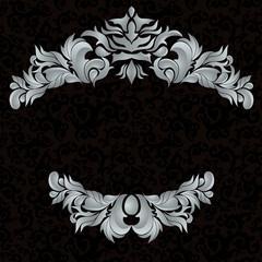 3d frame. Gray pattern black background.