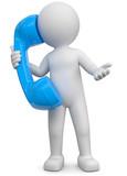 3d Männchen mit blauem Telefon