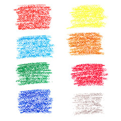 Set of colored spots of wax crayons