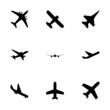 Vector black airplane icon set - 73461413